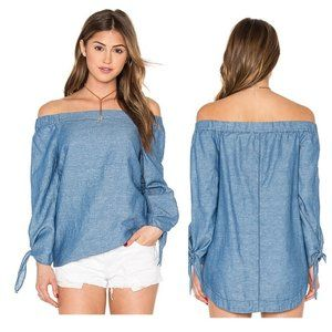 FREE PEOPLE Show Me Some Shoulder Chambray Top S